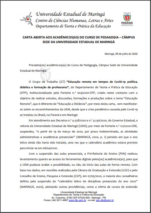 pg 1 Carta Aberta aos Estudantes de Pedagogia campus sede UEM