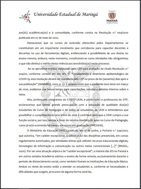 pg 2 Carta Aberta aos Estudantes de Pedagogia campus sede UEM