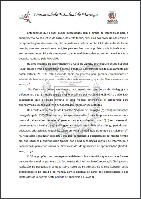 pg 3 Carta Aberta aos Estudantes de Pedagogia campus sede UEM