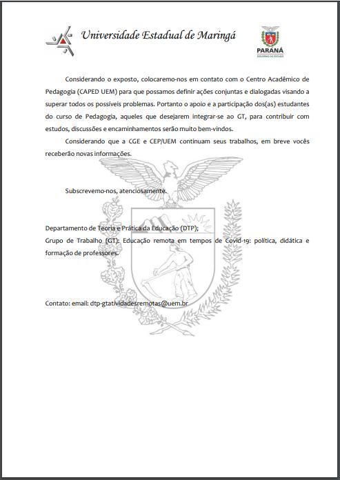 pg 4 Carta Aberta aos Estudantes de Pedagogia campus sede UEM