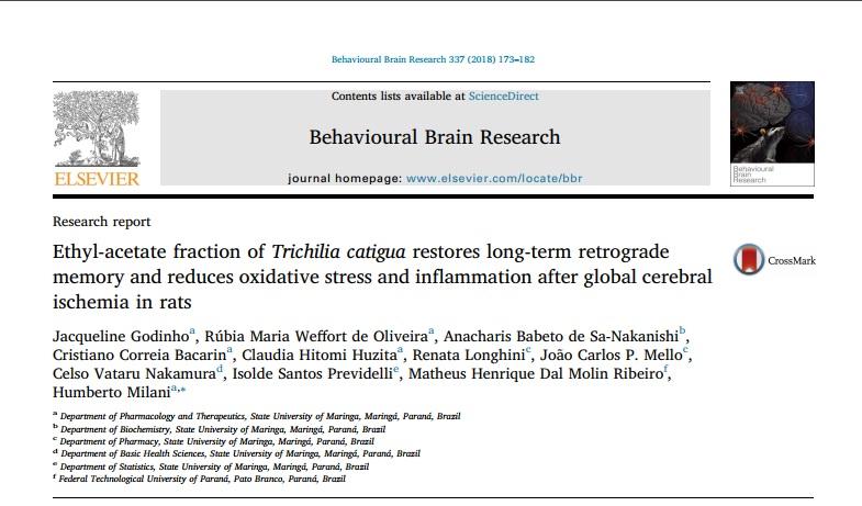 """Publicação no Periódico """"Behavioural Brain Research"""""""