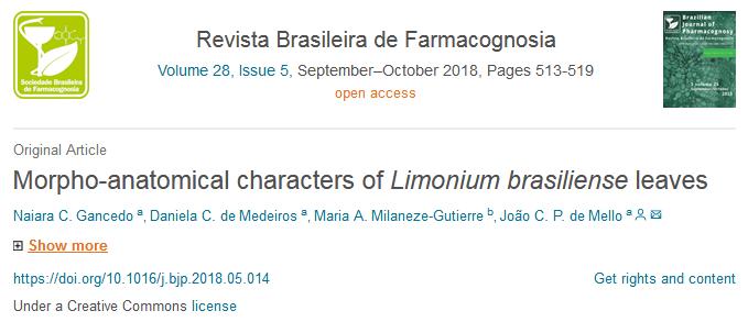 """Publicação no Periódico """"Revista Brasileira de Farmacognosia"""""""