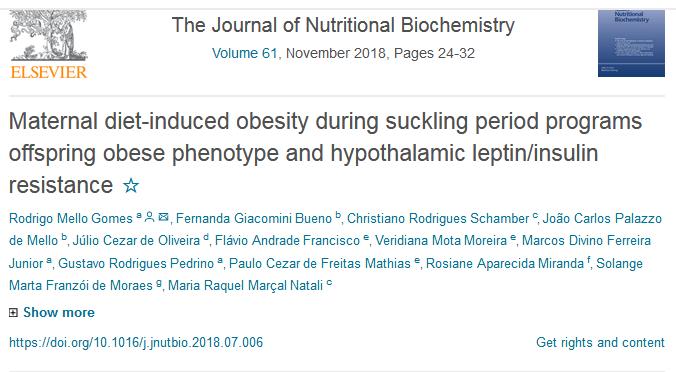 """Publicação no Periódico """"The Journal of Nutritional Biochemistry"""""""